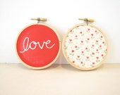 Love Floral Embroidery Hoop Set Wall Art,  wedding decor, engagement photo prop, word art Valentines Day hearts red white floral gift
