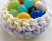 Set of 12 Mini Crochet Baskets Tiny Cotton Soft Handmade Party Favor Wedding Kitchen Country Rustic Jelly Bean Bowl Spring Colorful