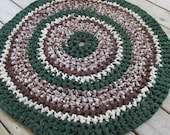 Pine Tree Camp Rug Crochet Rag Rug Round Cotton Washable Soft Handmade Kitchen Porch Country Brown Green Tan