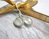 Rustic Silver Moonstone Earrings - Gemstone Dangle Earrings- Birthstone Jewelry - Wire Wrapped - Handmade Gemstone Jewelry