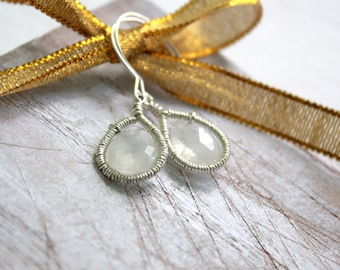 Moonstone Earrings - Silver Earrings-Gemstone Dangle Earrings- Birthstone Jewelry - Wire Wrapped-Moonstone Jewelry