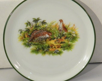 Vintage coasters/  Porcelain / J.W.K. Bavaria Western Germany/ Made in Germany / Pheasant / Quail