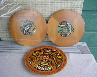 Set of 3 Vintage Handpainted Native Wall Art, Wall Plaque on Red Cedar, Wall Hanging, Canadiana