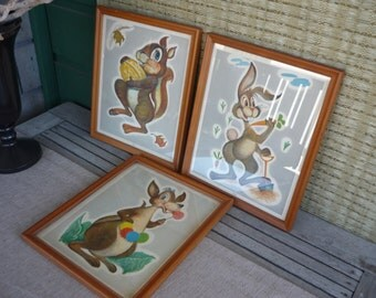 Vintage Framed Wall Art, Animal Character Prints, Nursery, Childrens Room Decor