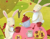 Forest Tea Party with Bunnies - Nursery illustration... 10x8 Kids Art Print