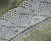 Linen rectangle table cloth natural linen in light green off white and white lace tablecloth