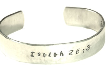 "You will keep in perfect peace, all who trusts in You. - 1/2"" Aluminum Cuff Bracelet"