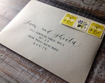 Wedding Calligraphy Envelope Addressing in Modern Mixed Font Hand Lettered by Professional Calligrapher