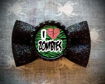I Love Zombies Hair Bow