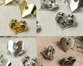 100PCS 7mm heart ear nuts, antique bronze, silver, gold, white gold available- W05516