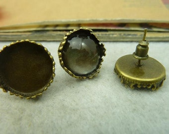 10PCS antique bronze  15mm round crown-edged bezel cup cabochon mountings ear studs with ear nuts- WC4127