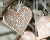 Christmas Decoration Ceramic Peach Heart Ornament Set of 3 Pink Wedding Favor