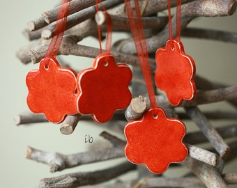 Ceramic Orange-Red Flower Ornaments Minimalist Wedding Favor Love Home Decoration Valentine Gift Set of 4