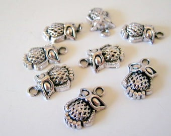 silver tone owl charms - 20mm (2)