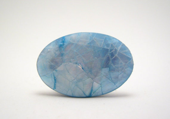 cornflower blue mosaic mother of pearl oval bead 42mm (last one)