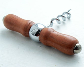 Hand-turned african mahogany wood corkscrew