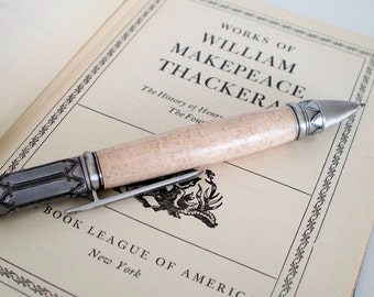Hand-turned wooden montague pen birds eye maple