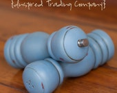 CHOOSE YOUR COLOR - Painted,Distressed, Wooden Pepper Mill and Salt Shaker - Greek Blue