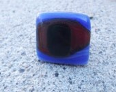 Blue, Dark Green and Orange Cocktail Ring Fused Glass Ring, Evil Eye