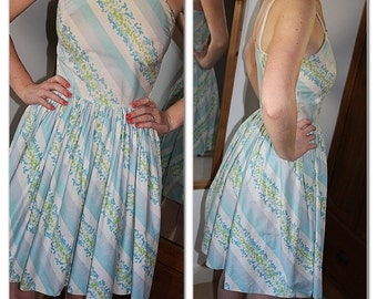 Late 1950s / early 1960s vintage knee length stripey summer dress