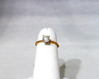 Ladies, Vintage, Estate, 14K, Solid, Yellow, Gold, Diamond, Solitaire, Engagement, Ring