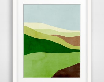 Abstract Landscape Art Print, Mid Century Modern Art, Minimalist Poster, Green Wall Art, Spring