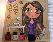 Handpainted Personalised Nail Technician Jute Handbag Gift Bag Hen Party Celebrity Style