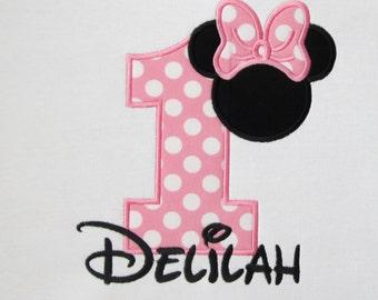 PERSONALIZED SHIRT -  BIRTHDAY Shirt - Minnie Mouse - Girl - Named Shirt - Number Shirt - Shirt - Toddler - Clothing - Monogram