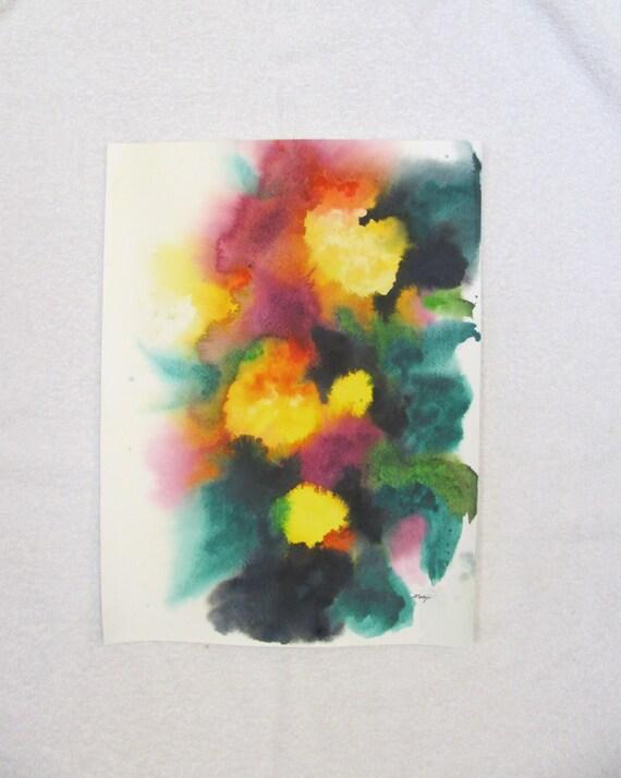 Original abstract flower painting bright art 12x16 inches for Bright flower painting