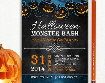 Printable Halloween Invite - Halloween Party Invitation Flyer Monster Bash - INSTANT DOWNLOAD - Editable Text PDF - 5x7
