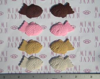 8pcs Polymer Clay Assorted Taiyaki Cookie Flatbacks