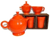 Red Fiesta Ware Tea Set Vintage Original Dining & Serving Set Art Deco Housewares Retro Collectibles Rustic Cottage Kitchen Decor c1930s