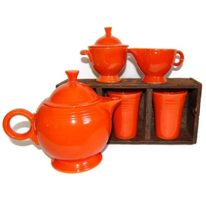 Red Fiesta Ware Tea Set Vintage Original Dining Serving
