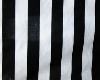 "Poly Cotton Print XL 2 Inch Stripes Black and White 60"" Fabric by the Yard - 1 Yard"