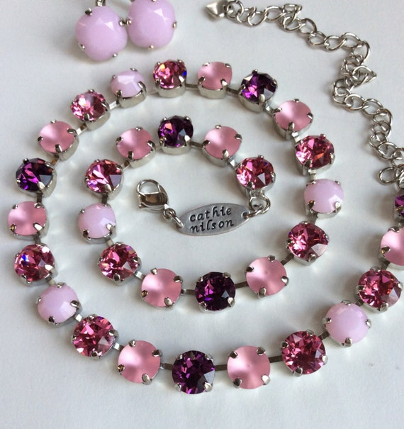 "Swarovski Crystal 8.5mm Necklace  ""Summer Sunset"" - Pink Alabaster, Glowing Matte Pink, Rose & Amethyst  Designer Inspired - FREE SHIPPING"