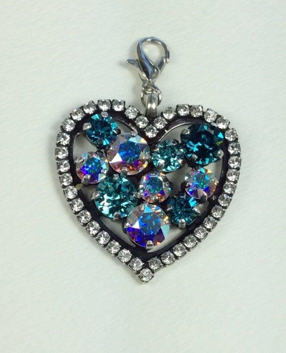 Swarovski Crystal - Heart Shaped -  Add-On Charm -Radiant Indicolite, Light Turquoise, & Aurora Borealis -  FREE SHIPPING - SALE - 35.