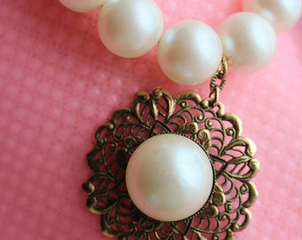 Vintage Faux Pearl Choker Necklace Pearl Necklace