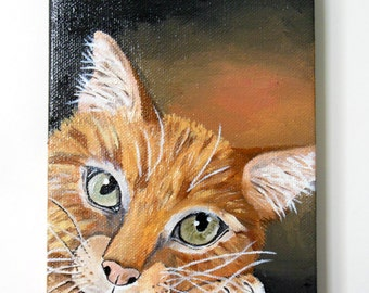 The Watchful Tabby, Original oil painting, small painting, cat painting