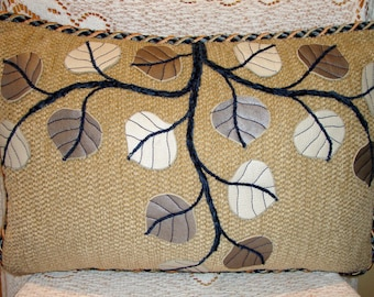 Platinum and Pearl Leather Aspen Branch Pillow on Similar Tan Chenille with Multi Blue Chenille Cord, and Down Fill. 12 x 18 (Made to Order)