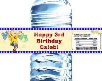Digital Calliou birthday water bottle labels: You print them.
