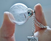 Make One Wish Necklace Real Dandelion Seeds Large Bead Necklace Botanical  Glass Orb Globe Beadwork