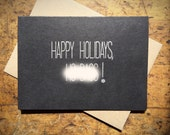 Happy Holidays H-Bags - Funny Holiday Card- Mature - black - silver -rustic modern minimal