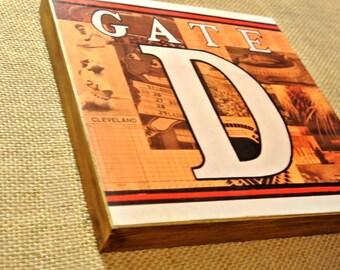 CLEVELAND INDIANS GATE D Municipal Stadium - 8x8 Handmade Wood Print