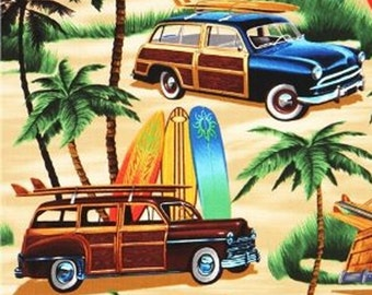Classic Woody Cars with Surfboards - Timeless Treasures