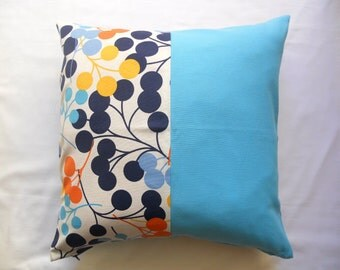 """Patchwork Pillow Cover - Circle Blue, Turquoise, Yellow, Orange Linen Fabric - 18x18"""" - Gift for Her, for Mom - Ready to Ship Decor"""