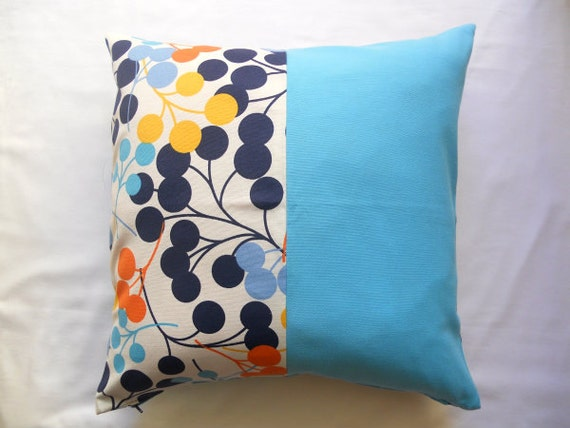 Patchwork Pillow Cover Circle Blue Turquoise Yellow