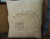 Happy Fall Primitive Stained Pumpkin Stitchery Pillow
