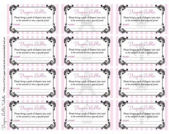 Vintage Parisian Printable Diaper Raffle Tickets & Sign, Instant Download - Paris, Digital File, PRINTABLE, D.I.Y.