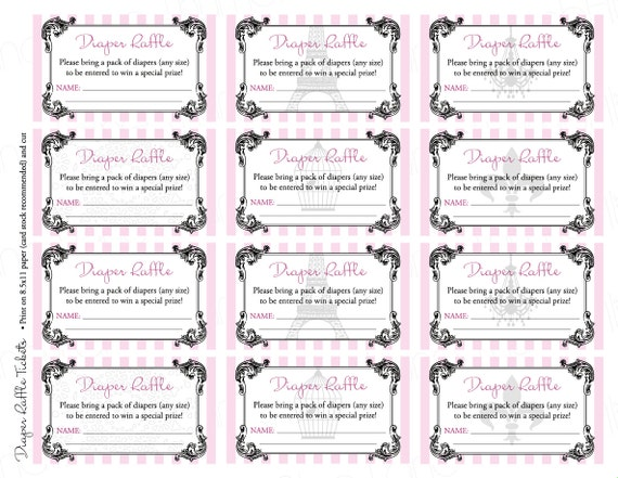 Vintage Parisian Printable Diaper Raffle Tickets & Sign