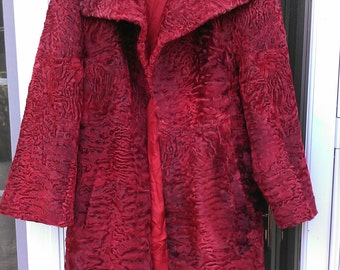 On Hold Broadtail Persian Lamb Swakara  Fur Coat size L in Red UNIQUE